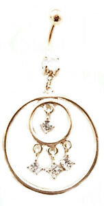 Belly Ring Circles w/Clear Gems Gold Plate Dangle Naval Belly Ring Body Je