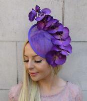 Ex Display Carrie Jenkinson Purple Sinamay Fascinator//Headpiece-60/% OFF