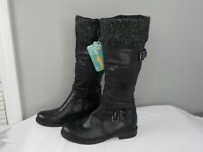 Yuu Clarella Black Boots. Size 6 1/2 M Calf Length. Wool Trim