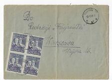 """Poland 1951 Sc# 477 blk 4 w/ Pastuchow """"Groszy"""" purple o/p to Warsaw (L86)"""