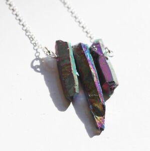 Rainbow titanium point crystal gemstone chain pendant necklace. Boho Jewellery