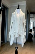 Maje Fringed Cotton Cardigan Size 1 Ivory