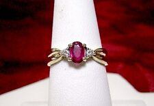 14K YELLOW GOLD OVAL RUBY GEM WITH ACCENT DIAMONDS RING SIZE 6.25