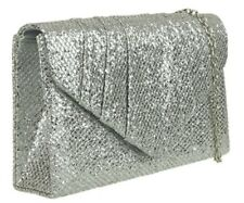 Silver Glittery Clutch Bag with Chain Strap