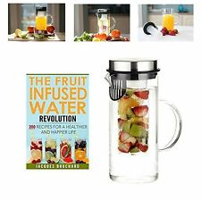 Fruit Infusion Flavored Water Pitcher Glass Stainless Steel Lid Infuser Jug NEW