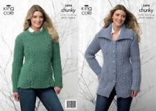 """King Cole Chunky Knitting Pattern 3494:Jacket &  Sweater , 28""""-46"""""""