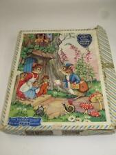 """VINTAGE """"VICTORY"""" WOODEN JIG-SAW PUZZLE 30 Pieces Mice Postman Tree House 1950s"""