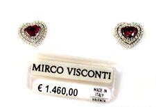 Orecchini in oro bianco 18kt 750/°°° MIRCO VISCONTI con Diamanti e Rubino Cuori