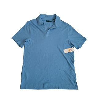Cubavera | Men's No-Button Polo Shirt Azure Blue | Small
