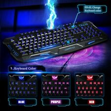 Pro Gaming Wired Keyboard Combo 3 Color LED Backlight Computer PC Light Up