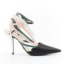 CHRISTIAN DIOR RAF SIMONS black dorsay toe green pink lace ribbon heels EU36