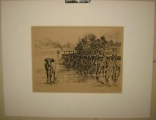 FRANCIS SEYMOUR HADEN The Village Ford SIGNED Etching 1881 COW Landscape framed