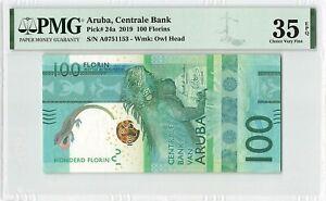 Aruba 100 Florin Gulden 2019 Antilles Pick 24a PMG Choice Very Fine 35 EPQ