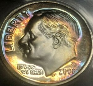 2000-S Roosevelt Dime Silver Proof ANACS PR69DCAM Rainbow Gem Toner Target Toned