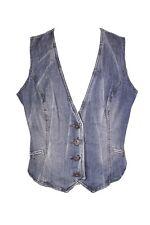 T28-3  Street One Jeans Weste Gilet Gr. 44 blau Denim Baumwolle Used-Look