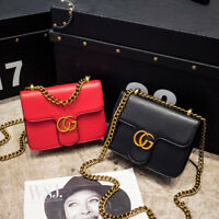 2017 New Womens Girl PU Leather Handbags Chain Solid Shoulder Bag Lady Messenger