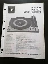 Original Service Manual Schaltplan Dual 1220 1222