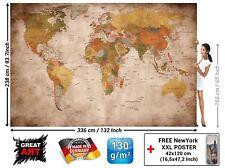 Carte du monde Photo Murale Style Vintage Rétro Taille XXL Décoration Murs