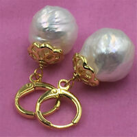 Sea south hand-made natural HUGE baroque pearl earrings 13-14MM gold plating