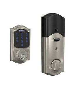 SCHLAGE Camelot Satin Nickel Connect Smart Door Lock with Alarm