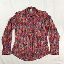 Christopher & Banks Blouse Top Multi Color  Long Sleeve Crinkle Material Size S