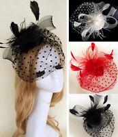Elegant Feather Fascinator Hat Top Headband Cocktail Wedding Hair Clip Headpiece