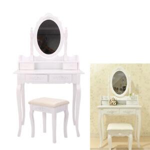 Coiffeuse table de maquillage avec 1 tiroirs miroir & tabouret commode blanc