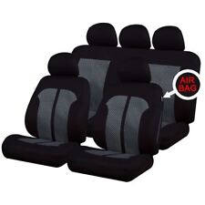 Black/Grey Full Set Front & Rear Car Seat Covers for Toyota Avensis All Models