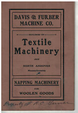 1916 Textile Machines Catalog Napping Machinery Davis & Furber