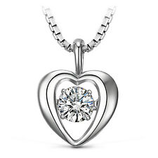S925 Sterling Silver 1/2ct Heart Dancing Diamond Necklace w Swarovski Element