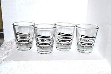 BUSHMILLS IRISH WHISKEY SHOT GLASS NEW SET of 4 CLEAR w/BLACK GRAPHICS