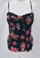 F & F Bustier Camisole Vibrant Dark Florals Frill Gypsy Boho 16 Stretch  Zip