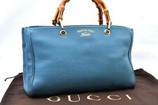 Authentic GUCCI Bamboo Hand Bag Leather Blue A0821