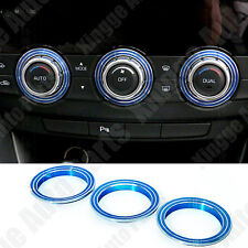 3X Blue Aluminium Alloy Air Conditioner Control Covers For MAZDA CX-5 2012-2014