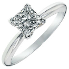 1.50 ct BRILLIANT Princess CUT SOLITAIRE ENGAGEMENT RING REAL 14K White GOLD