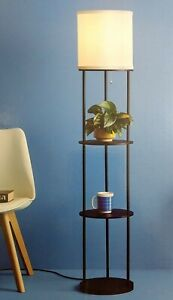 Room Essentials floor lamp with shelves black finish fabric shade pull-chain