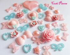 Craft Mix Pale Pink Blue Fimo Resin Hats Roses Flowers Bow Pearl Heart Flat-Back