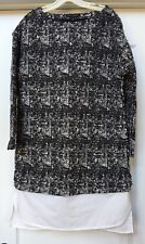 Banana Republic Dress Tunic Black/ White Double Layer Look, Size 6 Tall
