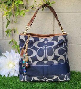New Vintage Coach denim signature stripe bucket tote hobo purse handbag 11182