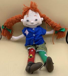 "18"" Vintage Pippi Longstocking Plush Cloth Rag Doll"