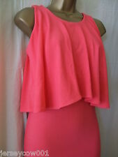 NEW £38 *** SALE *** JANE NORMAN, SIZE 10, CORAL CREPE FRILL BODYCON DRESS