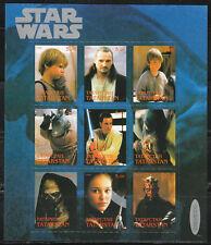 Souvenir sheet of 9 MNH stamps STAR WARS movie cinema 2000