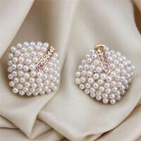 Fashion Jewelry Crystal Rhinestone Pearl Stud Earrings for Women Gifts LG