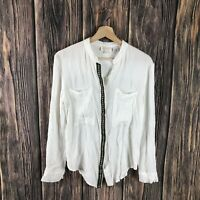 FLAW Miss Me Small Top Boho Long Sleeve White Button Down Embroidered Casual