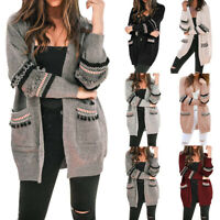Women's  Casual Patchwork Tassel Cardigan Long Sleeve Open Front Knitted Coat