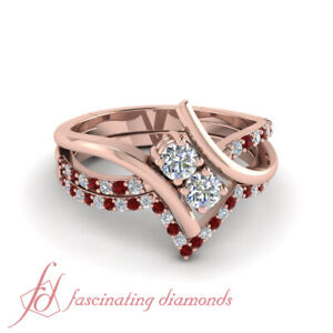 Bridal Ring Sets For Her 0.85 Ct Round Cut Swirl Diamond And Ruby 18K Rose Gold