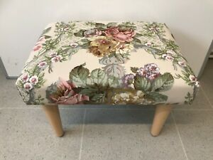 Flowered tapestry material with cream background Foot Stool