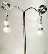 Handmade Matte White Crystals Clear Crystal Spacer Silver Plated Dangle Earrings