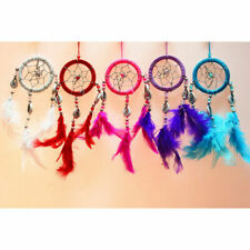 1PC Handmade  Wind Chimes Dream Catcher Net With Feather White Beads