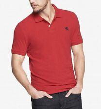 A NWT【 XL 】Express Men's FITTED Small Lion Logo Pique Polo Shirt KODAK RED